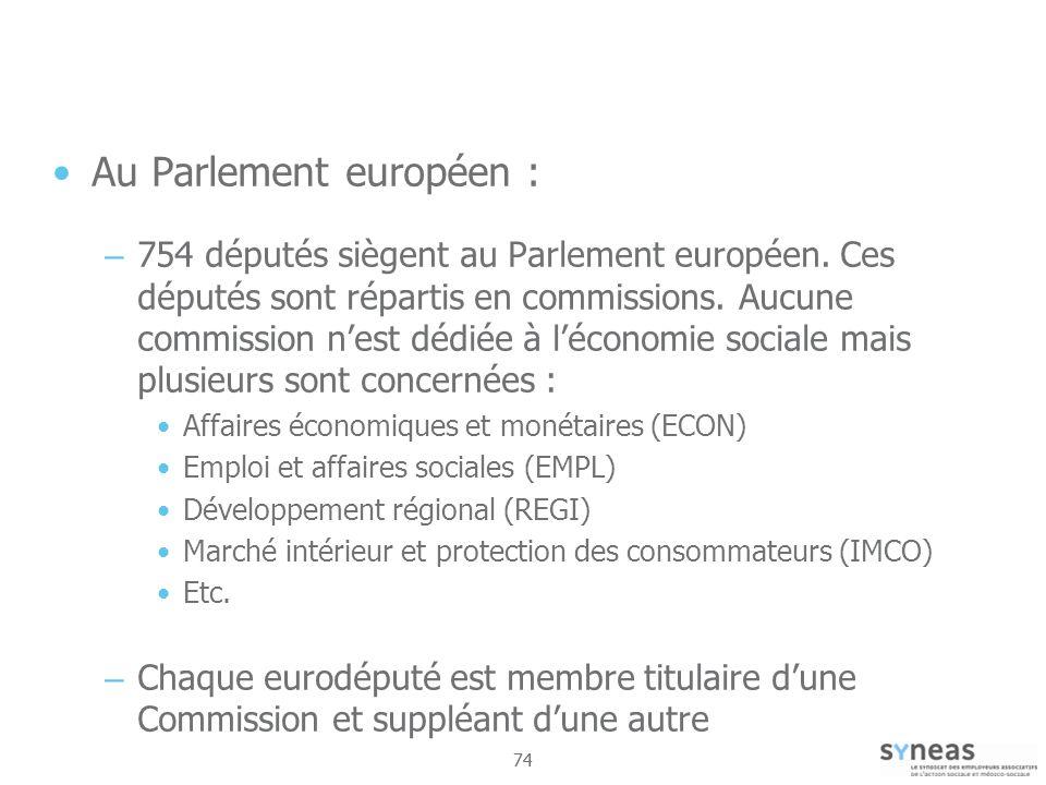 74 Au Parlement européen : – 754 députés siègent au Parlement européen.