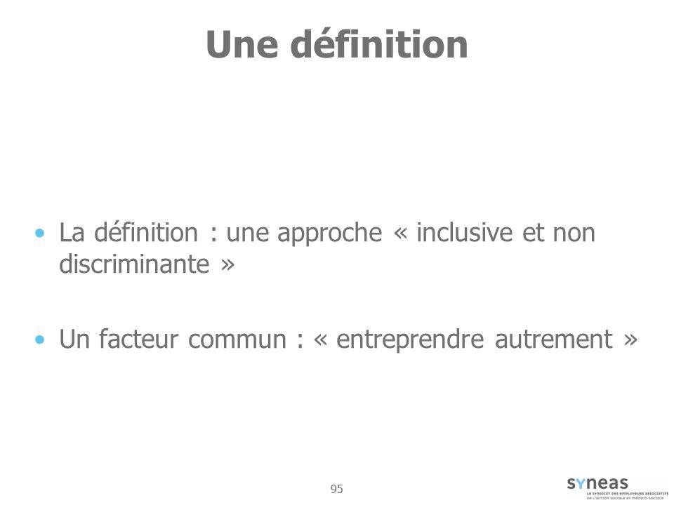 95 Une définition La définition : une approche « inclusive et non discriminante » Un facteur commun : « entreprendre autrement »