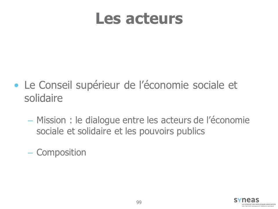 99 Les acteurs Le Conseil supérieur de léconomie sociale et solidaire – Mission : le dialogue entre les acteurs de léconomie sociale et solidaire et les pouvoirs publics – Composition