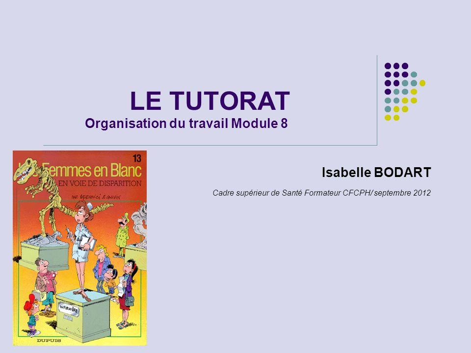LE TUTORAT Organisation du travail Module 8 Isabelle BODART Cadre supérieur de Santé Formateur CFCPH/ septembre 2012