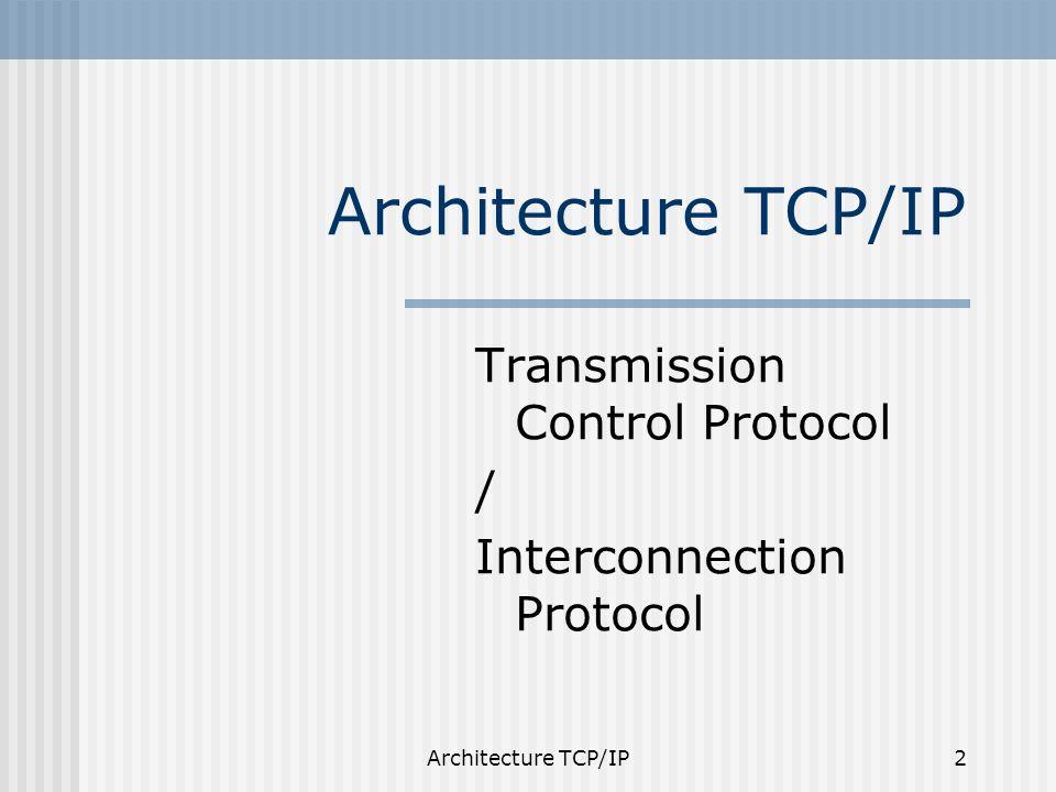 Architecture TCP/IP23 Exemples de types/codes des messages ICMP 0: réponse à une demande décho 3: destination inaccessible, Code 0: réseau inaccessible 4: demande de limitation de débit (une passerelle est proche de la congestion), 5: demande de modification de route (une passerelle sait qu il existe une meilleure route), 8: demande d écho (utile pour la mise au point et exploité par la commande ping), 11:durée de vie expirée.