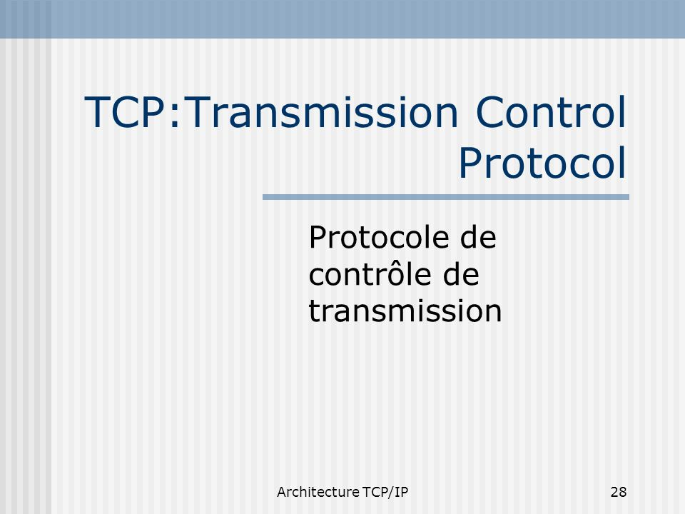 Architecture TCP/IP28 TCP:Transmission Control Protocol Protocole de contrôle de transmission