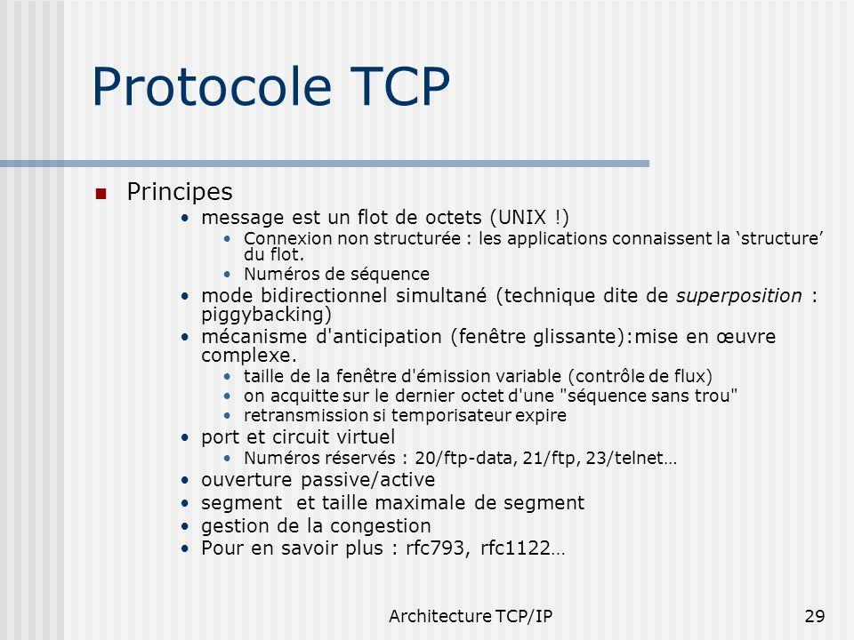Architecture TCP/IP29 Protocole TCP Principes message est un flot de octets (UNIX !) Connexion non structurée : les applications connaissent la struct