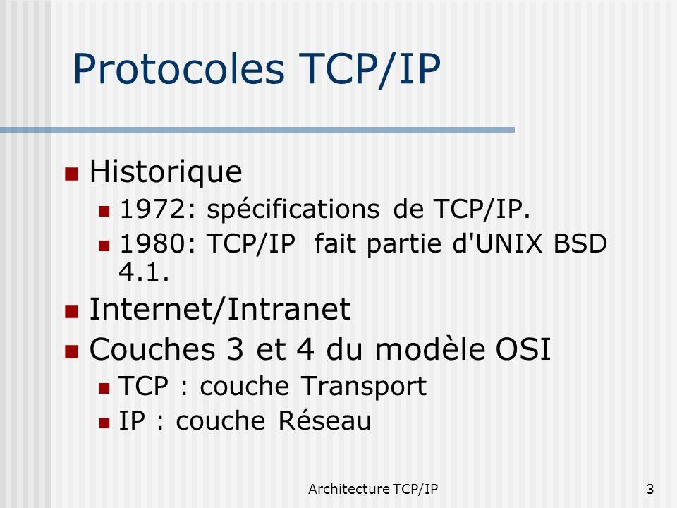 Architecture TCP/IP3 Protocoles TCP/IP Historique 1972: spécifications de TCP/IP. 1980: TCP/IP fait partie d'UNIX BSD 4.1. Internet/Intranet Couches 3