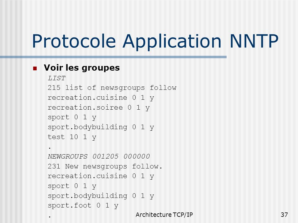 Architecture TCP/IP37 Protocole Application NNTP Voir les groupes LIST 215 list of newsgroups follow recreation.cuisine 0 1 y recreation.soiree 0 1 y