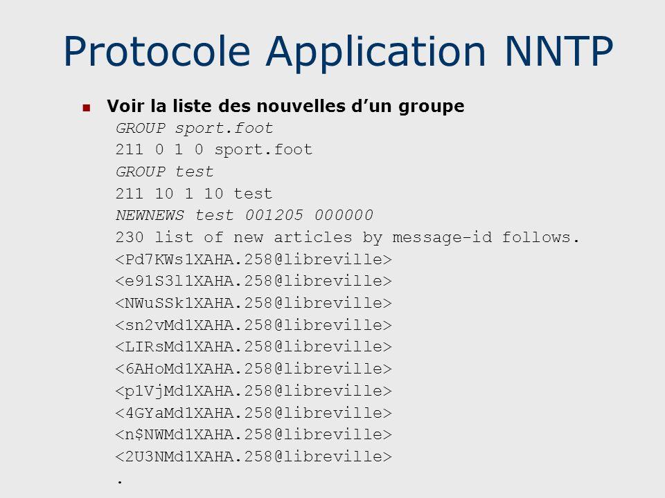 Protocole Application NNTP Voir la liste des nouvelles dun groupe GROUP sport.foot 211 0 1 0 sport.foot GROUP test 211 10 1 10 test NEWNEWS test 00120