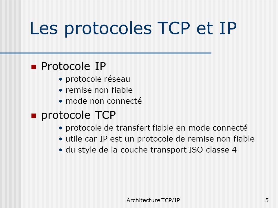Architecture TCP/IP5 Les protocoles TCP et IP Protocole IP protocole réseau remise non fiable mode non connecté protocole TCP protocole de transfert f
