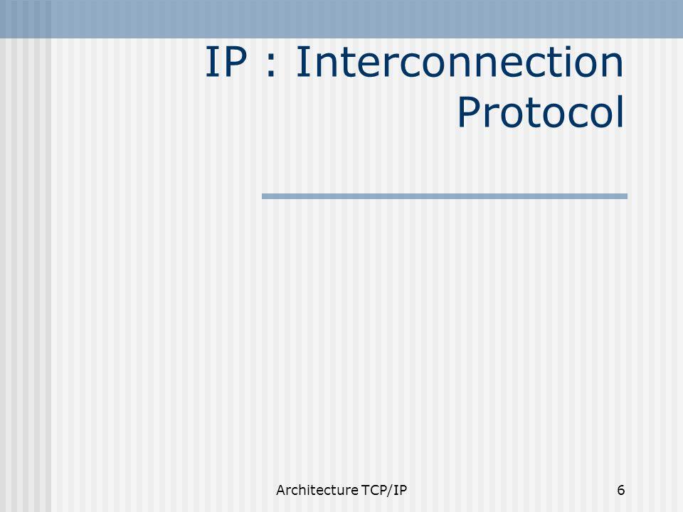 Architecture TCP/IP17 Routage des datagrammes IP entre 2 machines du même réseau remise directe entre 2 machines de réseaux différents utilisation de passerelles chaque passerelle a deux connexions (donc 2 adresse IP) chaque passerelle constitue une table de routage éventuellement une route par défaut