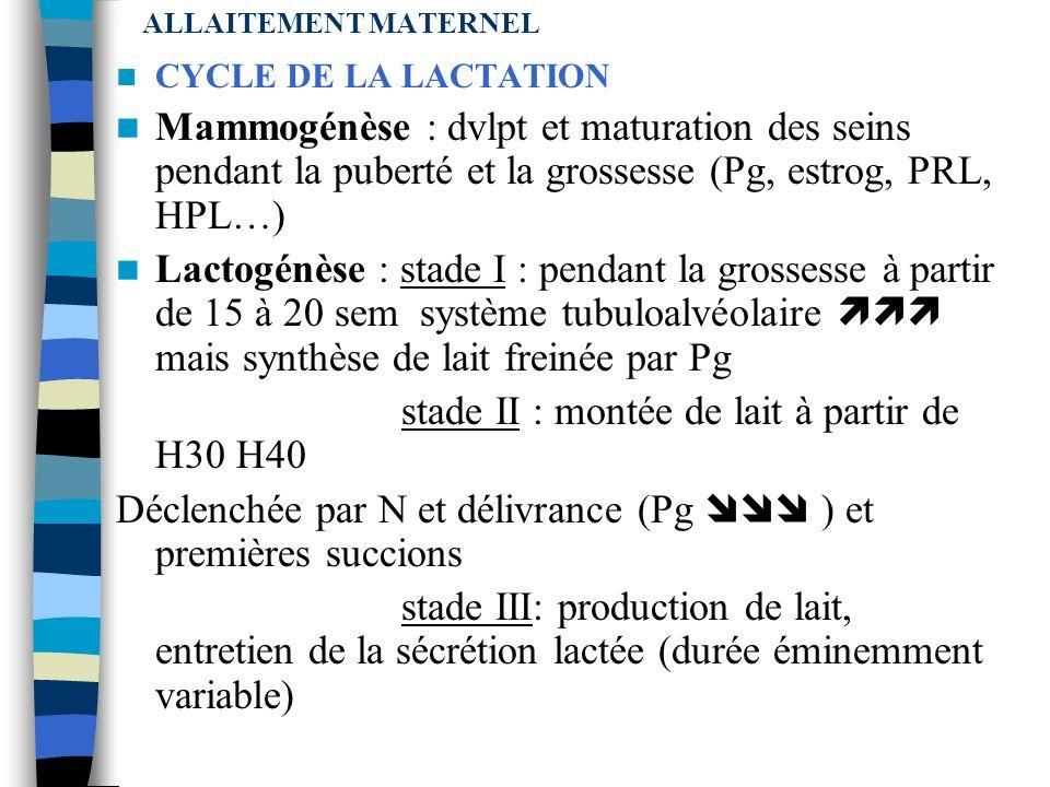 ALLAITEMENT MATERNEL LACTATION Le contrôle de la sécrétion et de léjection est assuré à 2 niveaux (mais dépendent surtout de la succion de lenfant) Co