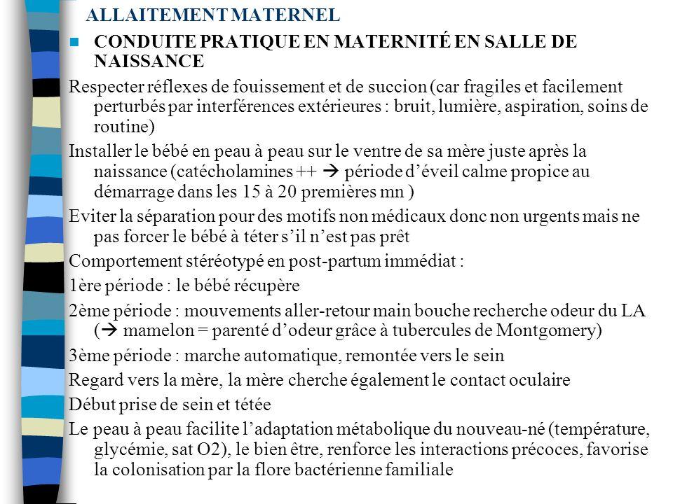 ALLAITEMENT MATERNEL PHYSIOLOGIE SUCCION Réflexes nutritionnels : R succion, déglutition, respiration SDR Succion (14 sem) Déglutition (11 sem) Coordi
