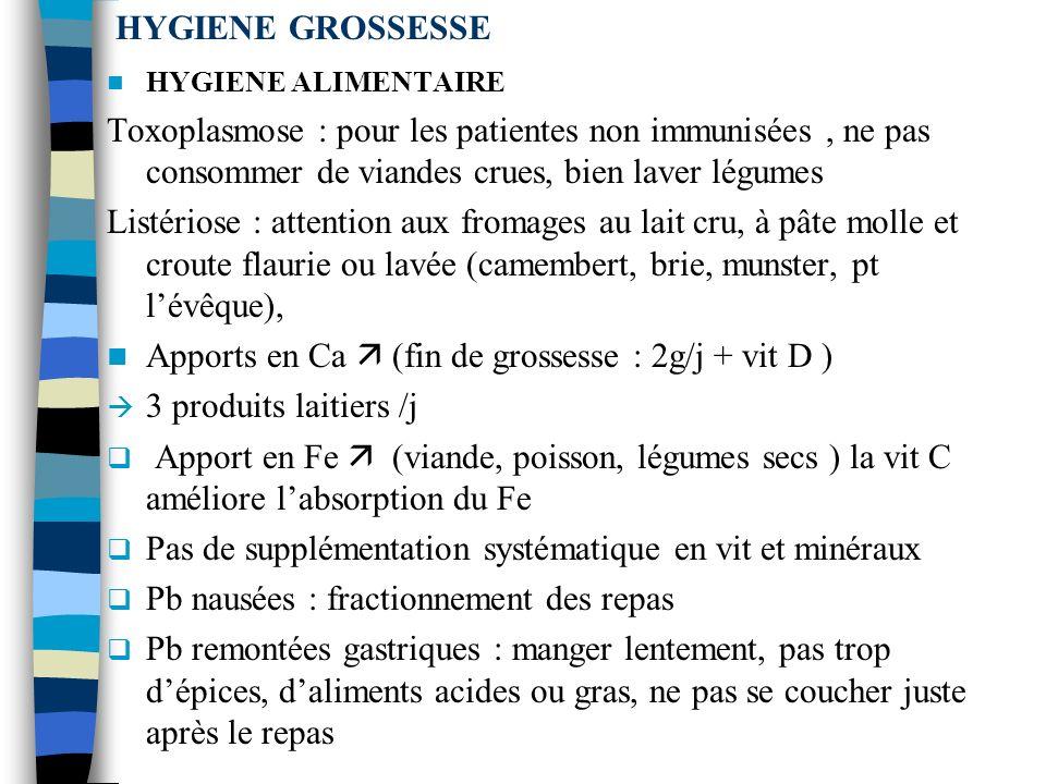 HYGIENE GROSSESSE HYGIENE ALIMENTAIRE Toxoplasmose : pour les patientes non immunisées, ne pas consommer de viandes crues, bien laver légumes Listériose : attention aux fromages au lait cru, à pâte molle et croute flaurie ou lavée (camembert, brie, munster, pt lévêque), Apports en Ca (fin de grossesse : 2g/j + vit D ) 3 produits laitiers /j Apport en Fe (viande, poisson, légumes secs ) la vit C améliore labsorption du Fe Pas de supplémentation systématique en vit et minéraux Pb nausées : fractionnement des repas Pb remontées gastriques : manger lentement, pas trop dépices, daliments acides ou gras, ne pas se coucher juste après le repas