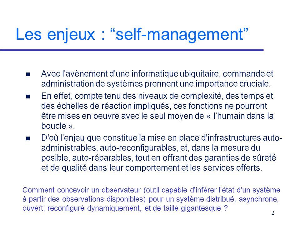 2 Les enjeux : self-management n Avec l avènement d une informatique ubiquitaire, commande et administration de systèmes prennent une importance cruciale.