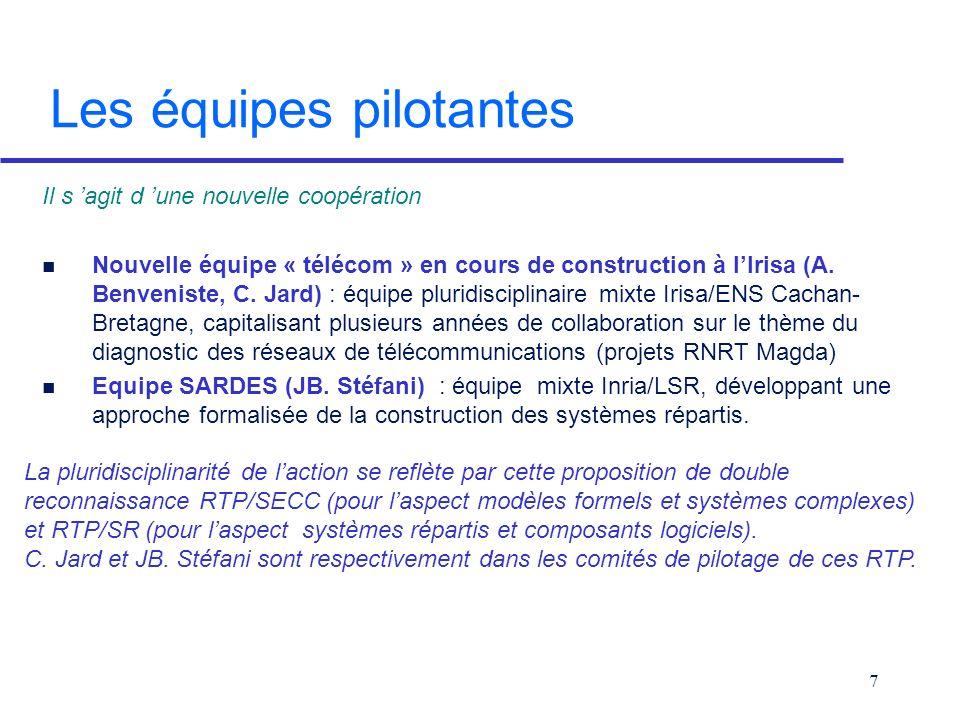 7 Les équipes pilotantes Il s agit d une nouvelle coopération n Nouvelle équipe « télécom » en cours de construction à lIrisa (A.