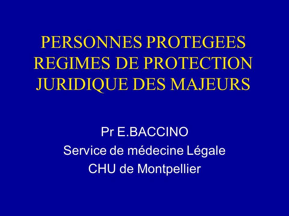 PERSONNES PROTEGEES REGIMES DE PROTECTION JURIDIQUE DES MAJEURS Pr E.BACCINO Service de médecine Légale CHU de Montpellier