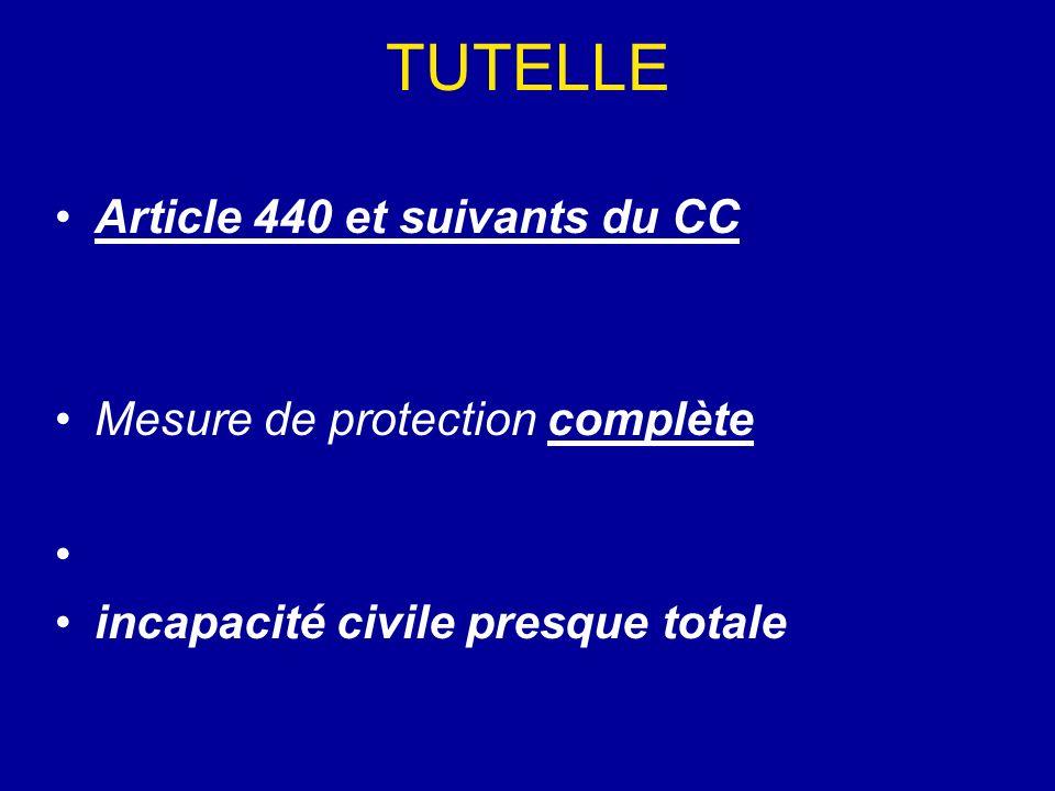 TUTELLE Article 440 et suivants du CC Mesure de protection complète incapacité civile presque totale