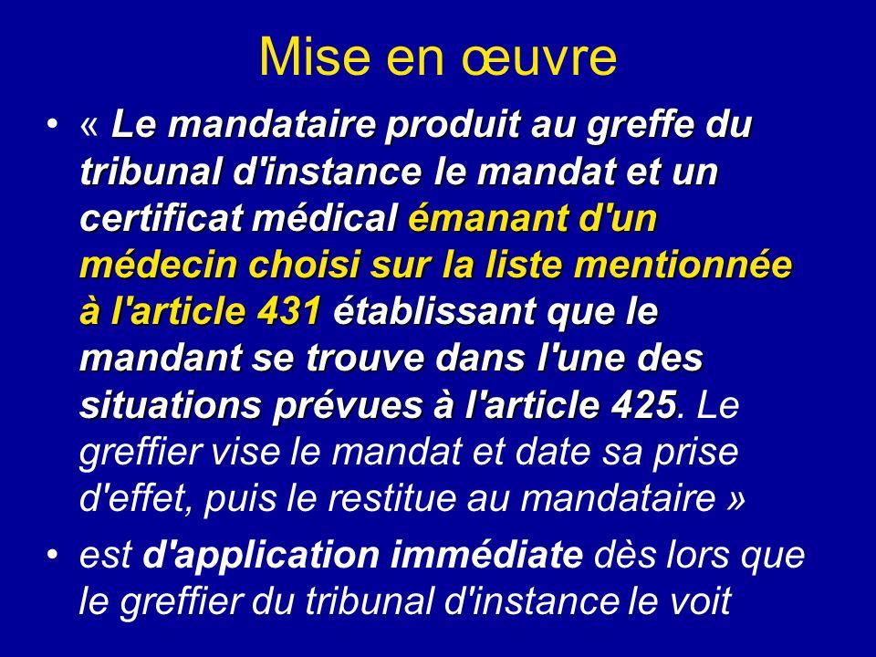 Mise en œuvre Le mandataire produit au greffe du tribunal d'instance le mandat et un certificat médical émanant d'un médecin choisi sur la liste menti