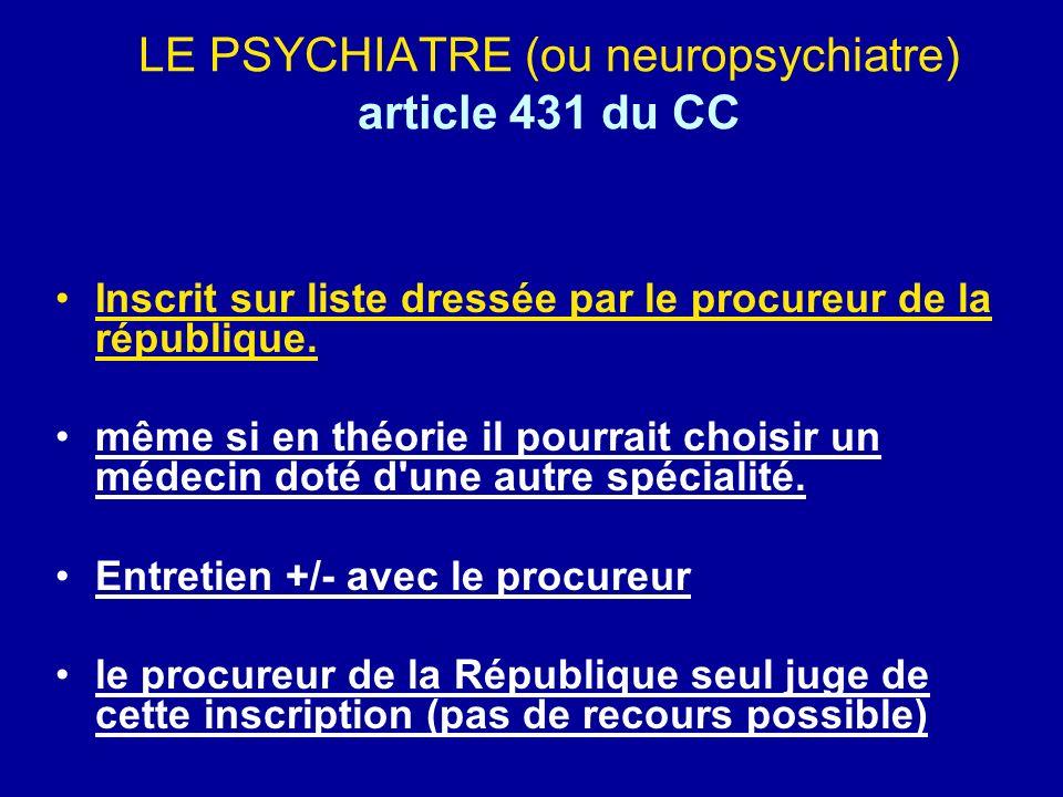 LE PSYCHIATRE (ou neuropsychiatre) article 431 du CC Inscrit sur liste dressée par le procureur de la république. même si en théorie il pourrait chois