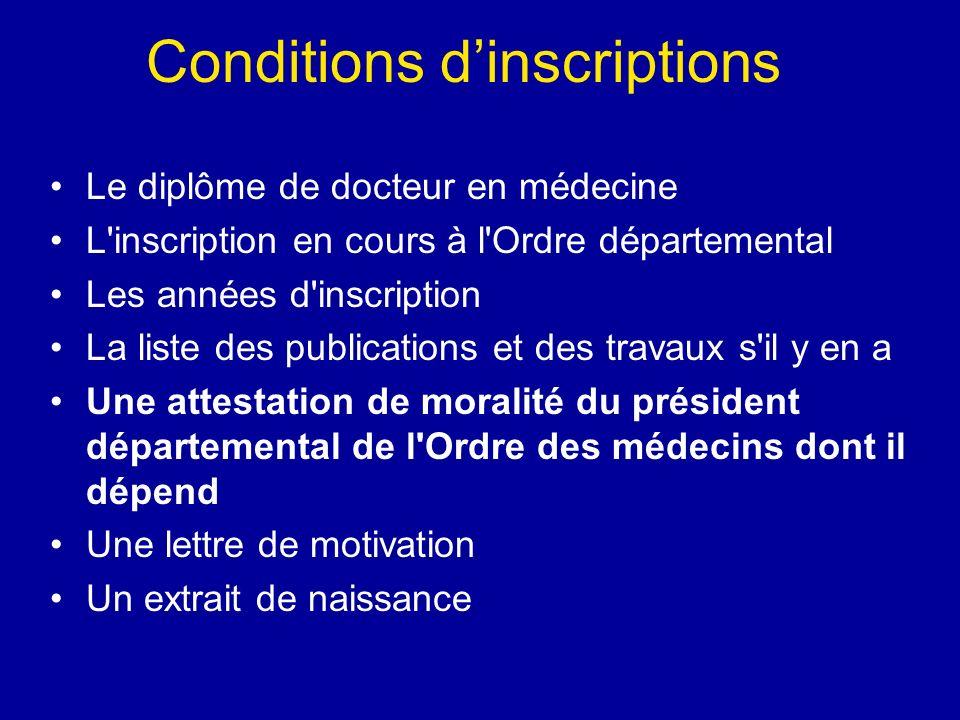 Conditions dinscriptions Le diplôme de docteur en médecine L'inscription en cours à l'Ordre départemental Les années d'inscription La liste des public