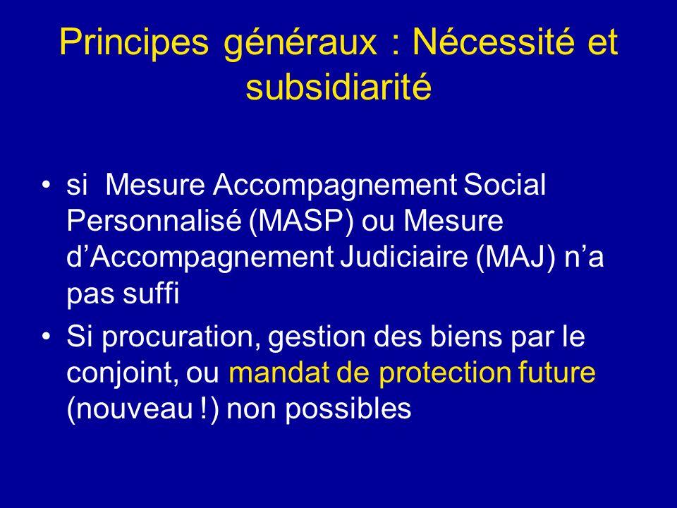 Principes généraux : Nécessité et subsidiarité si Mesure Accompagnement Social Personnalisé (MASP) ou Mesure dAccompagnement Judiciaire (MAJ) na pas s