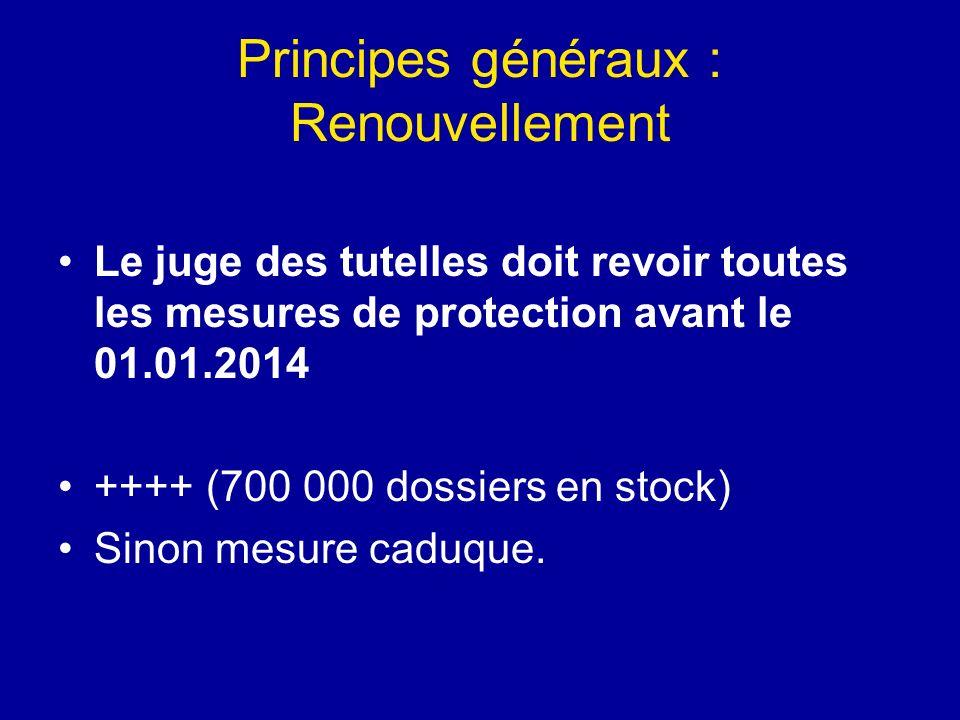 Principes généraux : Renouvellement Le juge des tutelles doit revoir toutes les mesures de protection avant le 01.01.2014 ++++ (700 000 dossiers en st