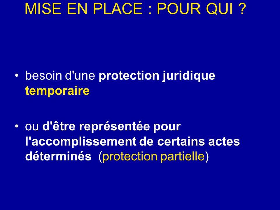 MISE EN PLACE : POUR QUI ? besoin d'une protection juridique temporaire ou d'être représentée pour l'accomplissement de certains actes déterminés (pro