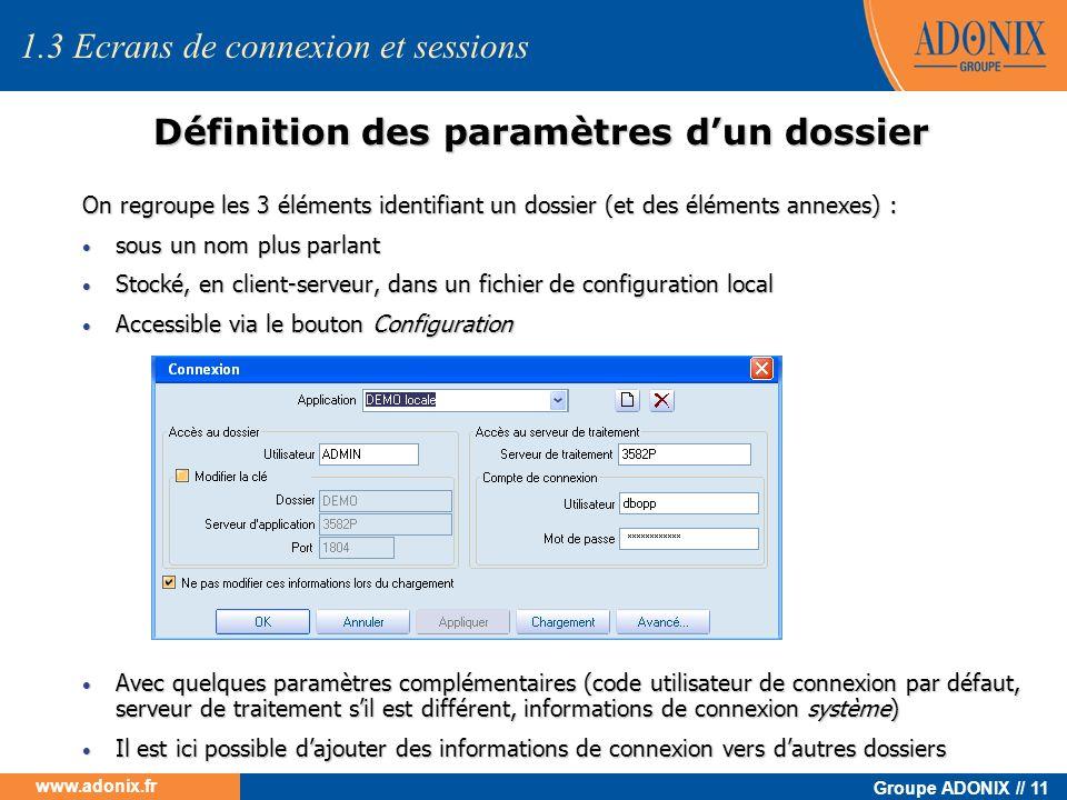 Groupe ADONIX // 11 www.adonix.fr Définition des paramètres dun dossier 1.3 Ecrans de connexion et sessions On regroupe les 3 éléments identifiant un