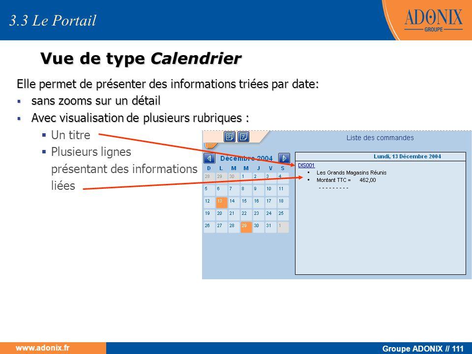 Groupe ADONIX // 111 www.adonix.fr Vue de type Calendrier Elle permet de présenter des informations triées par date: sans zooms sur un détail sans zoo