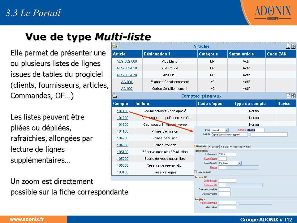 Groupe ADONIX // 112 www.adonix.fr Vue de type Multi-liste Elle permet de présenter une ou plusieurs listes de lignes issues de tables du progiciel (c