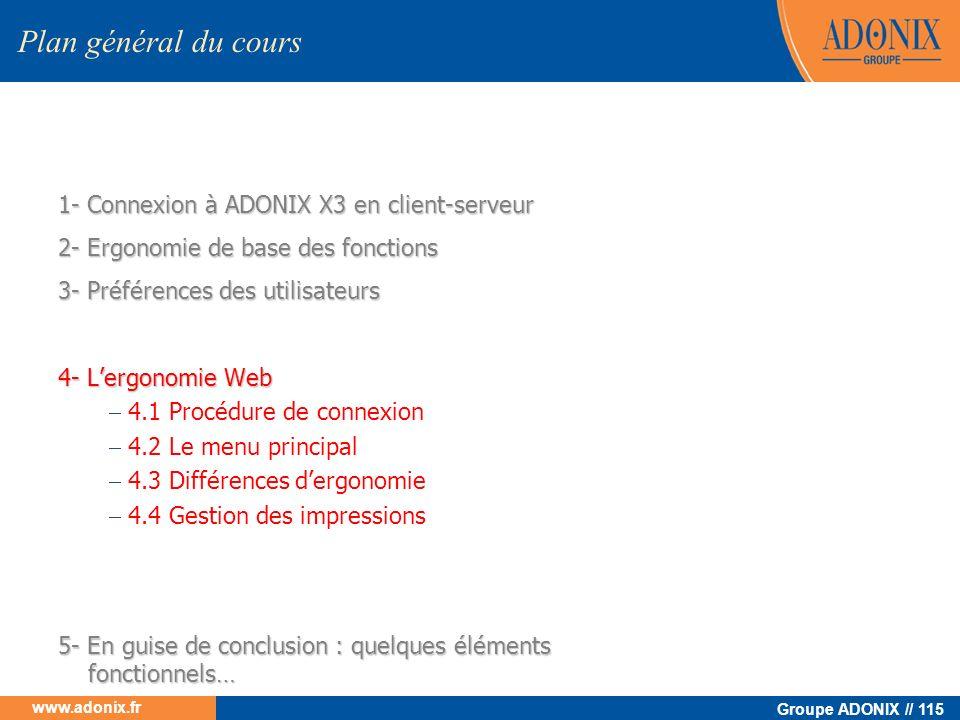 Groupe ADONIX // 115 www.adonix.fr 1- Connexion à ADONIX X3 en client-serveur 2- Ergonomie de base des fonctions 3- Préférences des utilisateurs 4- Le