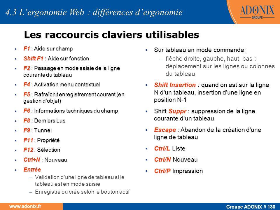 Groupe ADONIX // 130 www.adonix.fr 4.3 Lergonomie Web : différences dergonomie Les raccourcis claviers utilisables F1 : Aide sur champ F1 : Aide sur c