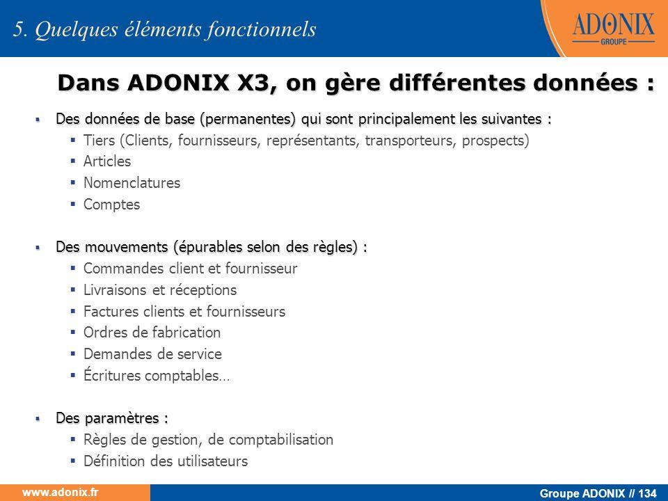 Groupe ADONIX // 134 www.adonix.fr 5. Quelques éléments fonctionnels Dans ADONIX X3, on gère différentes données : Des données de base (permanentes) q