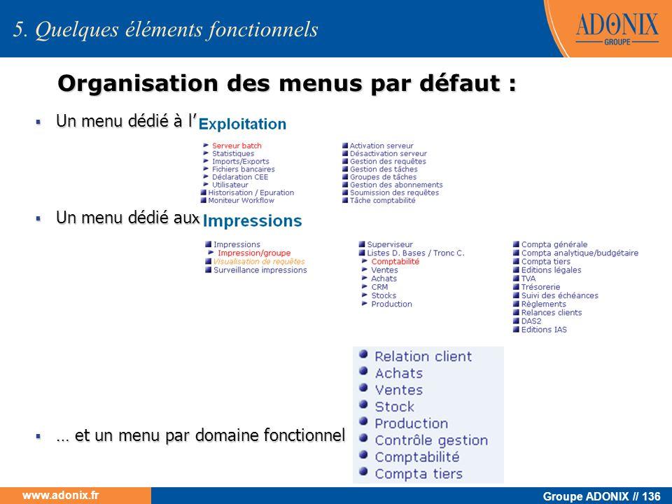 Groupe ADONIX // 136 www.adonix.fr 5. Quelques éléments fonctionnels Organisation des menus par défaut : Un menu dédié à l Un menu dédié à l Un menu d
