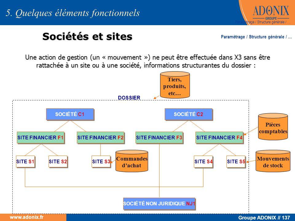 Groupe ADONIX // 137 www.adonix.fr Sociétés et sites Une action de gestion (un « mouvement ») ne peut être effectuée dans X3 sans être rattachée à un