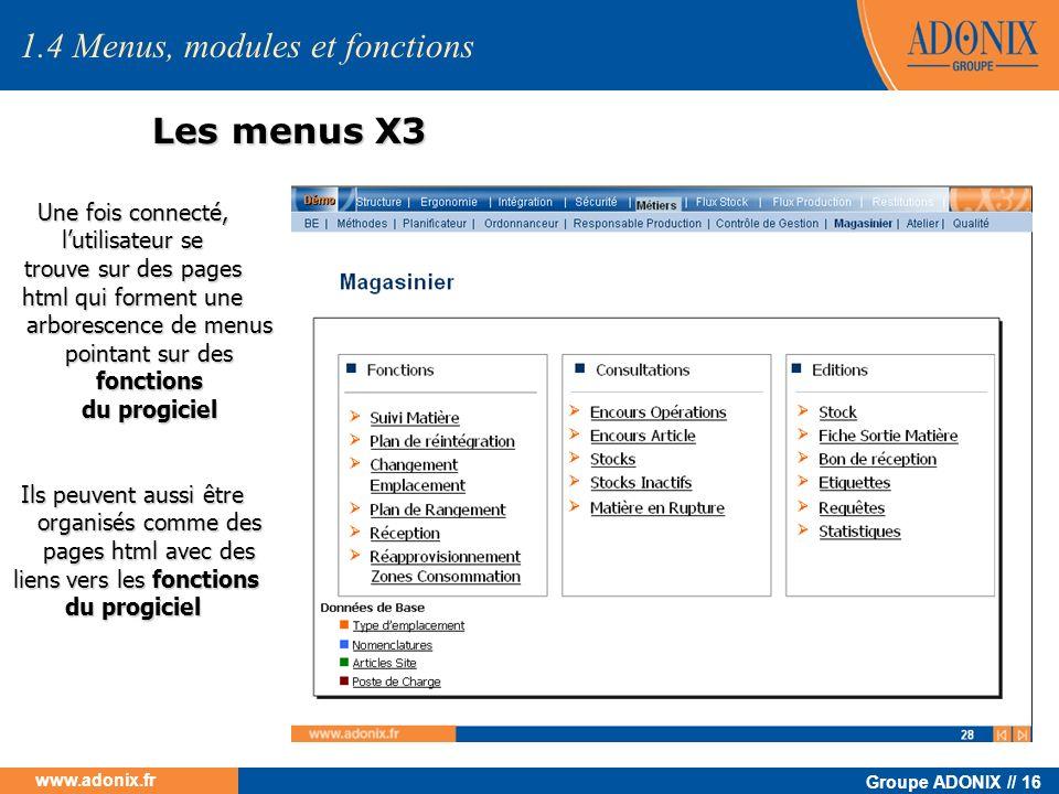 Groupe ADONIX // 16 www.adonix.fr Les menus X3 Une fois connecté, lutilisateur se trouve sur des pages html qui forment une arborescence de menus poin
