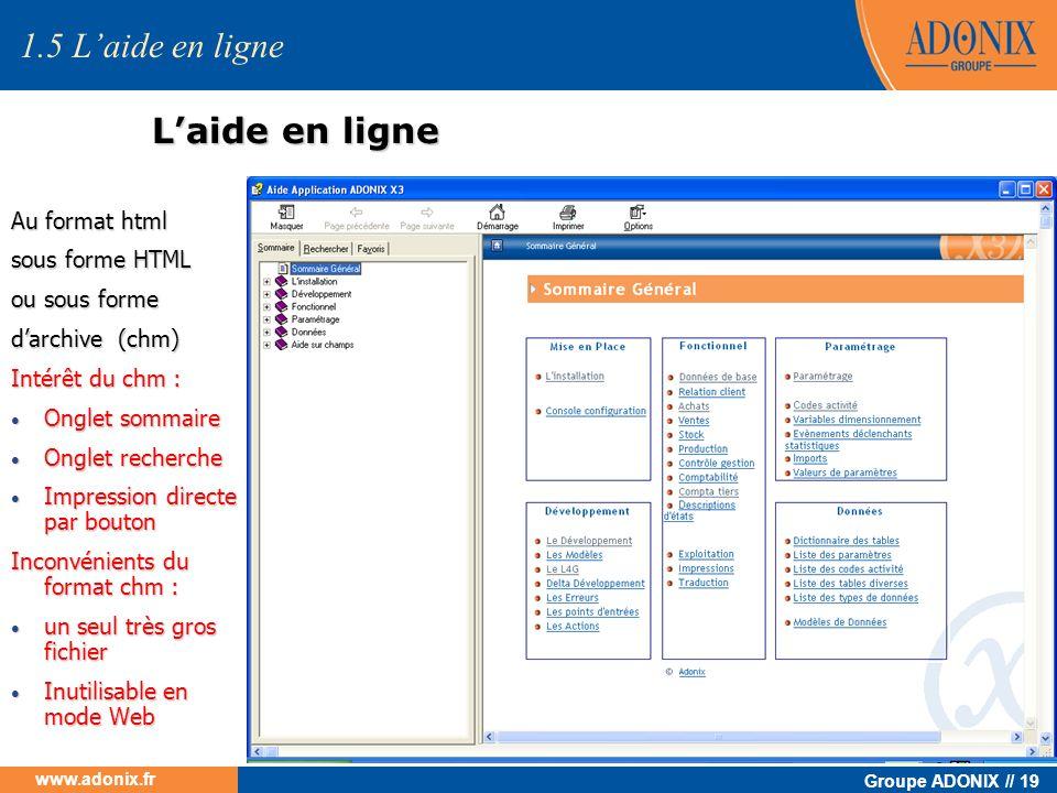 Groupe ADONIX // 19 www.adonix.fr Laide en ligne Au format html sous forme HTML ou sous forme darchive (chm) Intérêt du chm : Onglet sommaire Onglet s