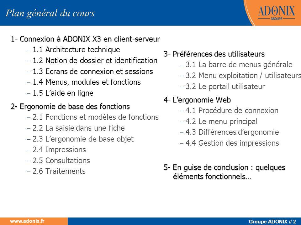 Groupe ADONIX // 2 www.adonix.fr 1- Connexion à ADONIX X3 en client-serveur 1.1 Architecture technique 1.2 Notion de dossier et identification 1.3 Ecr