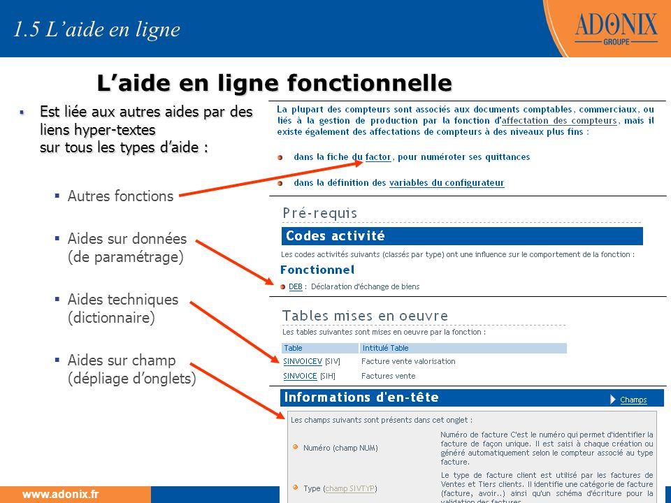 Groupe ADONIX // 22 www.adonix.fr Laide en ligne fonctionnelle 1.5 Laide en ligne Est liée aux autres aides par des liens hyper-textes sur tous les ty