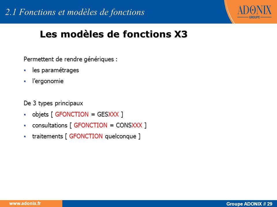 Groupe ADONIX // 29 www.adonix.fr Les modèles de fonctions X3 Permettent de rendre génériques : les paramétrages les paramétrages lergonomie lergonomi