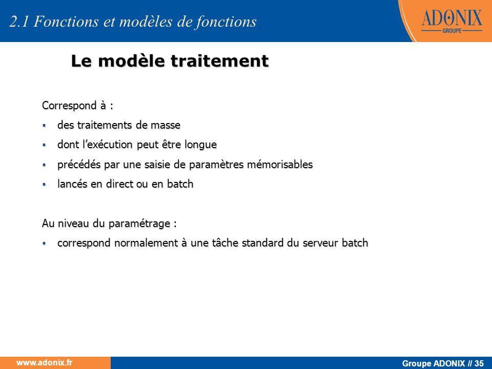 Groupe ADONIX // 35 www.adonix.fr Le modèle traitement Correspond à : des traitements de masse des traitements de masse dont lexécution peut être long