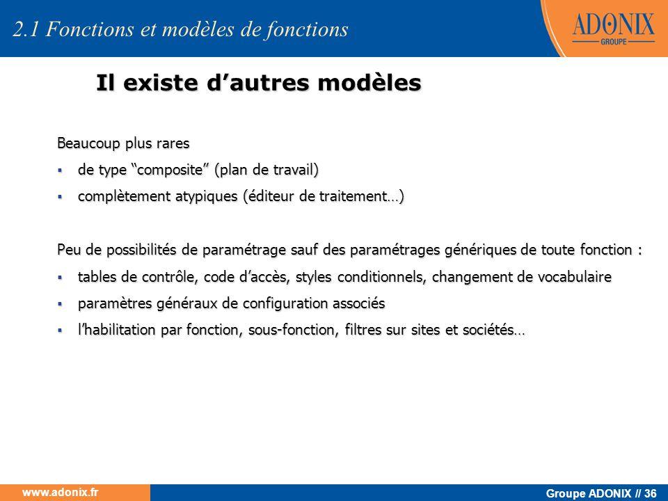 Groupe ADONIX // 36 www.adonix.fr Il existe dautres modèles Beaucoup plus rares de type composite (plan de travail) de type composite (plan de travail