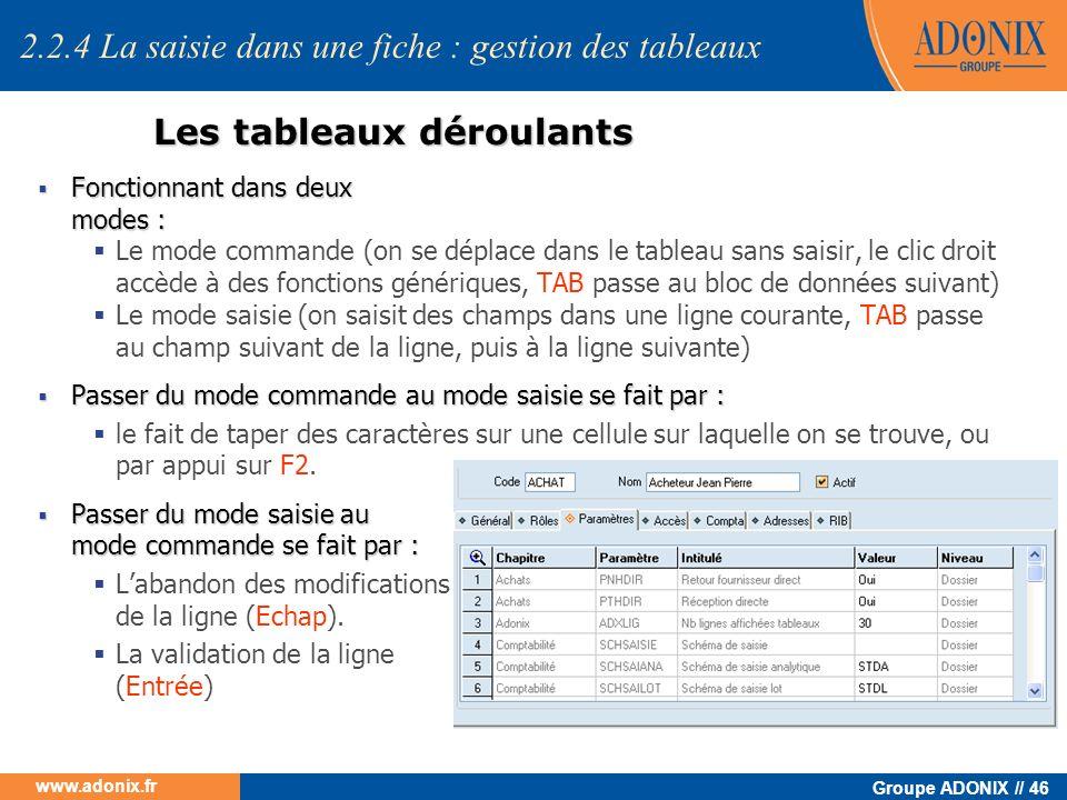 Groupe ADONIX // 46 www.adonix.fr Les tableaux déroulants Fonctionnant dans deux modes : Fonctionnant dans deux modes : Le mode commande (on se déplac
