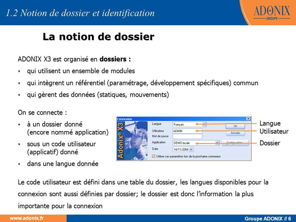 Groupe ADONIX // 6 www.adonix.fr La notion de dossier 1.2 Notion de dossier et identification ADONIX X3 est organisé en dossiers : qui utilisent un en
