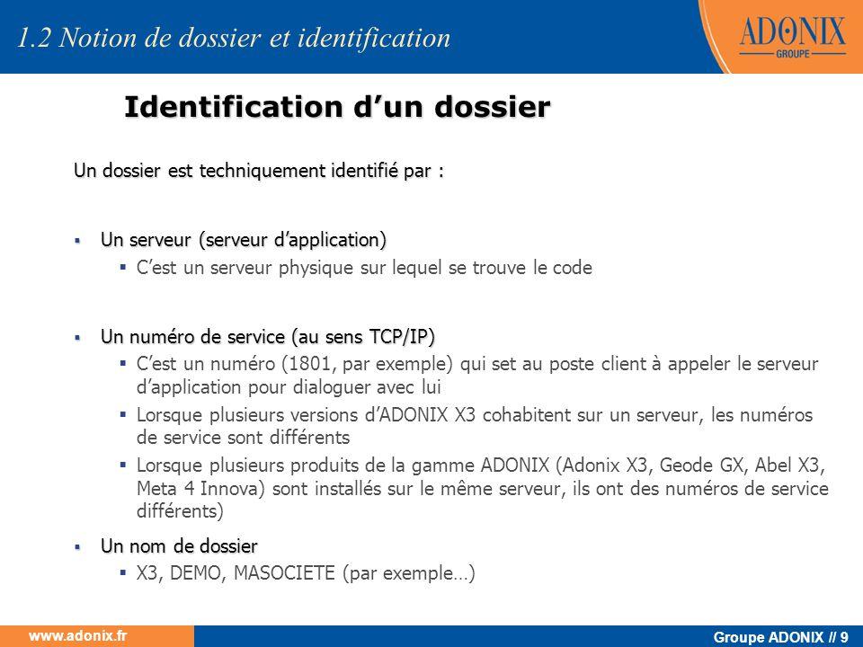 Groupe ADONIX // 9 www.adonix.fr Identification dun dossier 1.2 Notion de dossier et identification Un dossier est techniquement identifié par : Un se