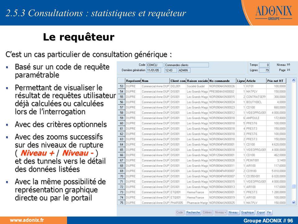 Groupe ADONIX // 96 www.adonix.fr Le requêteur Cest un cas particulier de consultation générique : Basé sur un code de requête paramétrable Basé sur u