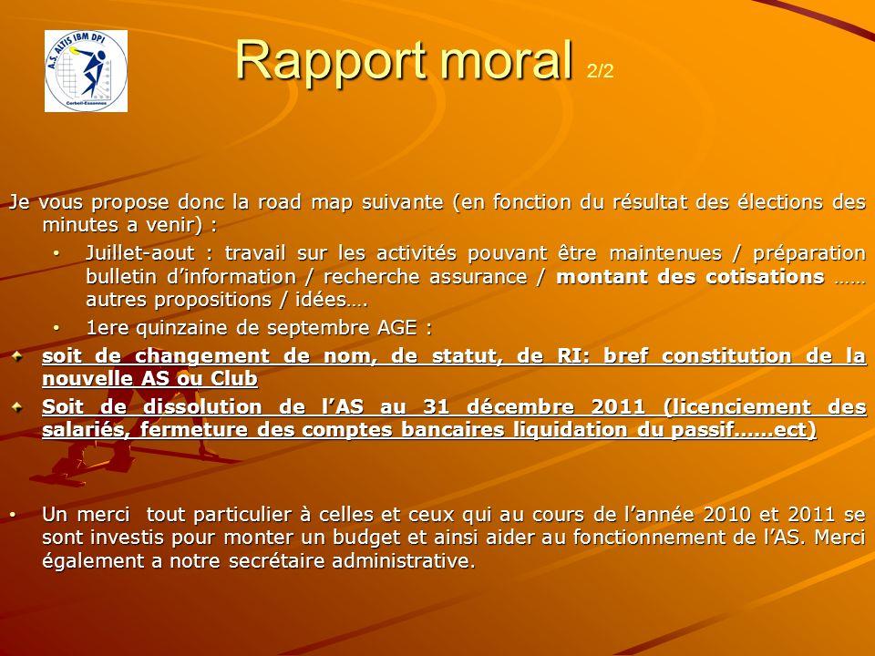 Rapport moral Rapport moral 2/2 Je vous propose donc la road map suivante (en fonction du résultat des élections des minutes a venir) : Juillet-aout :