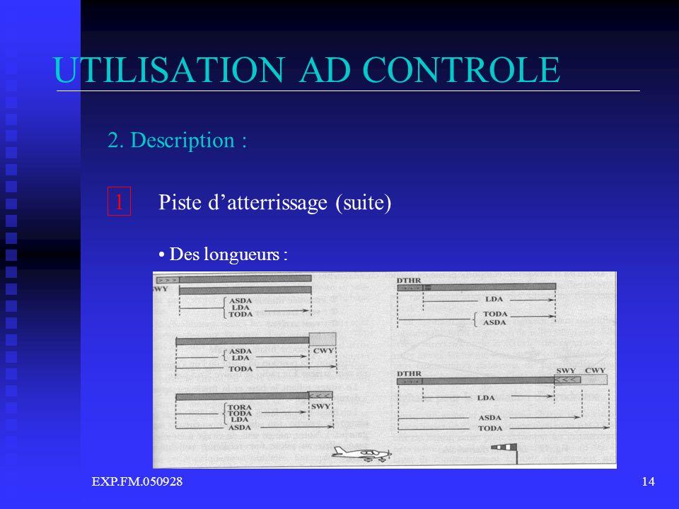 EXP.FM.05092814 UTILISATION AD CONTROLE 2. Description : 1 Piste datterrissage (suite) Des longueurs :