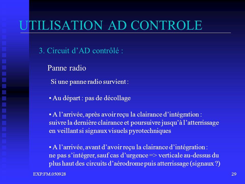 EXP.FM.05092829 UTILISATION AD CONTROLE 3. Circuit dAD contrôlé : Panne radio Si une panne radio survient : Au départ : pas de décollage A larrivée, a