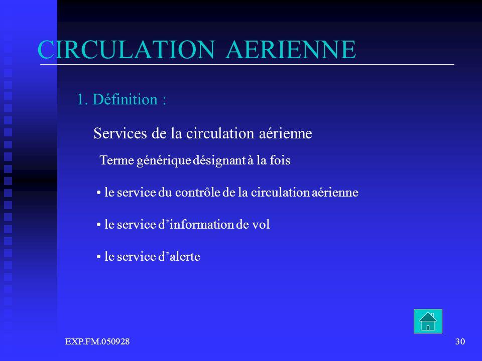 EXP.FM.05092830 CIRCULATION AERIENNE 1. Définition : Services de la circulation aérienne Terme générique désignant à la fois le service du contrôle de