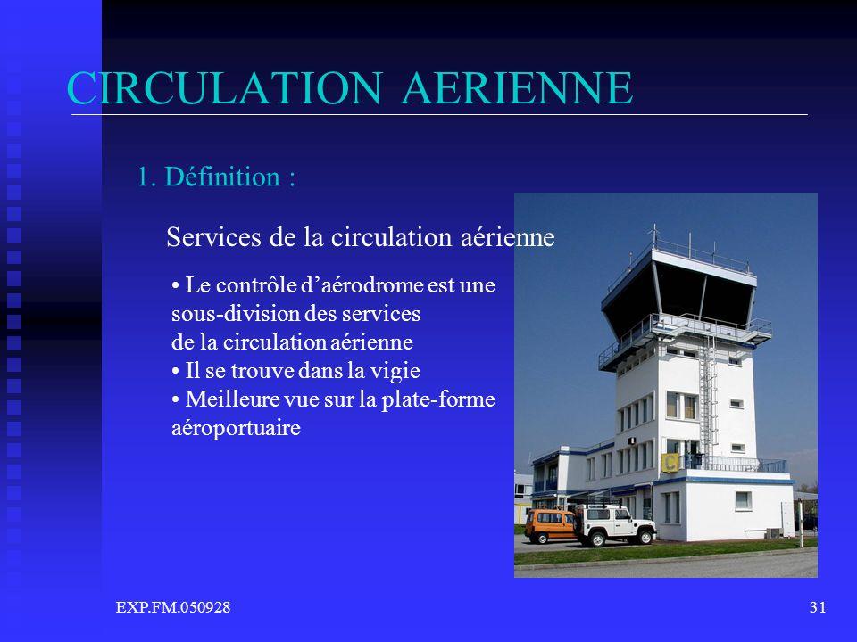 EXP.FM.05092831 CIRCULATION AERIENNE 1. Définition : Services de la circulation aérienne Le contrôle daérodrome est une sous-division des services de