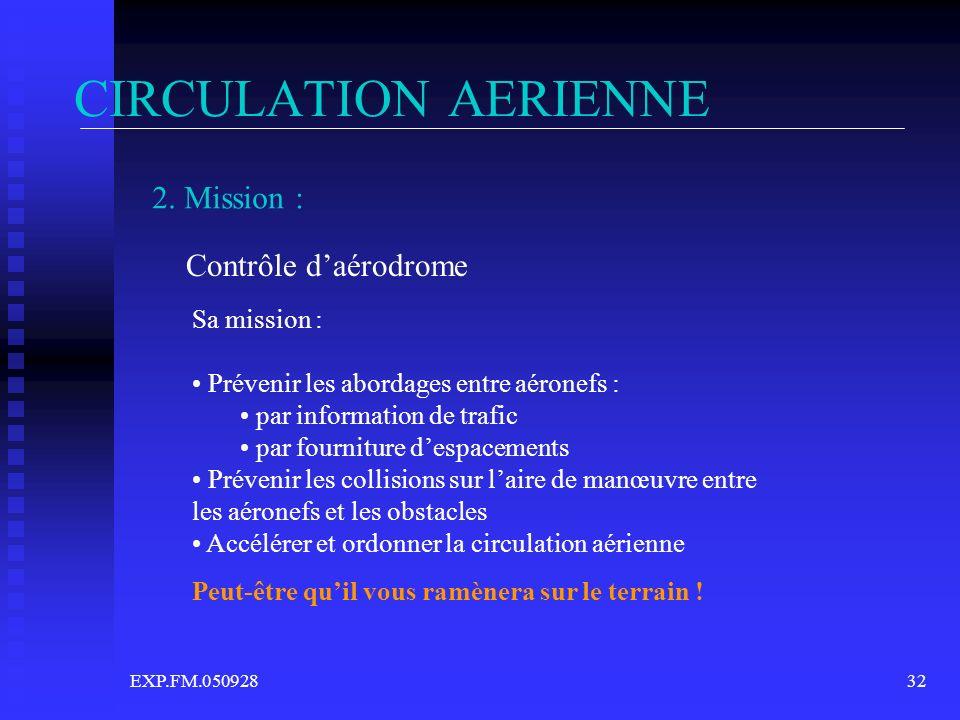 EXP.FM.05092832 CIRCULATION AERIENNE 2. Mission : Contrôle daérodrome Sa mission : Prévenir les abordages entre aéronefs : par information de trafic p